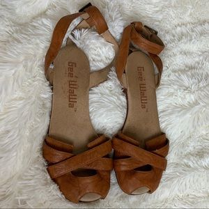 Anthropologie Gee Wawa Leather Ankle Wrap Sandals